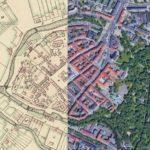 .Kalisz widziany z satelity i na planie z 1825 r. Źródło: https://stareplanymiast.pl/wg-miast/kalisz/
