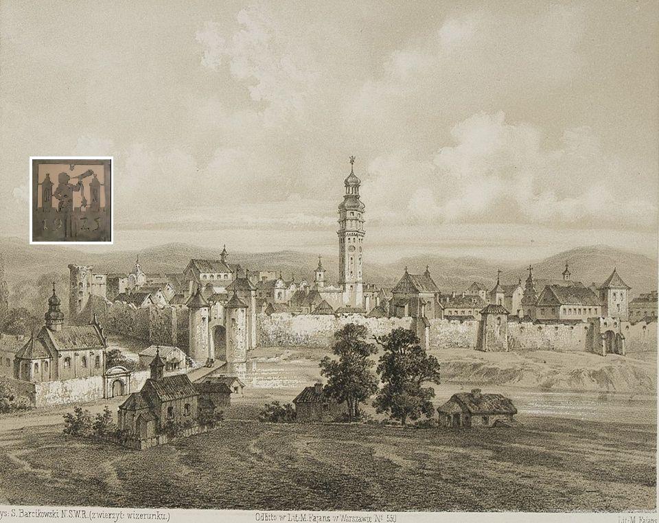 Kalisz w XVIII wieku Litografia Maksymiliana Fajansa wg rys. Stanisława Barcikowskiego [w:] Album kaliskie Edwarda Staweckiego, Warszawa 1858.