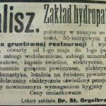 """Reklama Zakładu Wodoleczniczego """"Hydropatia"""" znajdującego się w kaliskim parku."""