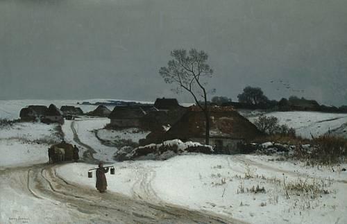 2. Walery Brochocki, Pejzaż zimowy, źródło: artyzm.com/obraz.php?id=10746